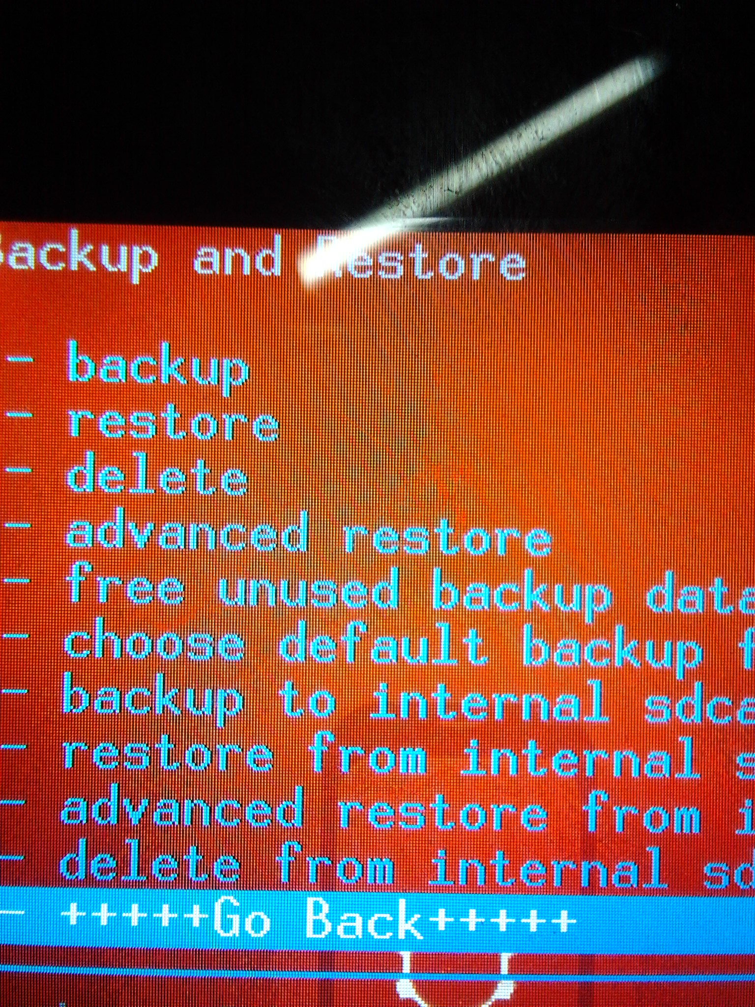 Backup and Restore menu